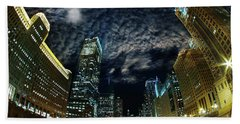 Majestic Chicago - Windy City Riverfront At Night Hand Towel