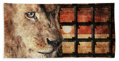 Majestic Lion In Captivity Hand Towel by Anton Kalinichev