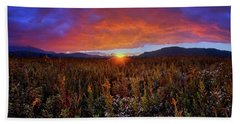 Majestic Sunset Over Cades Cove In Smoky Mountains National Park Hand Towel