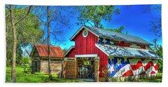 Bath Towel featuring the photograph Make America Great Again Barn American Flag Art by Reid Callaway