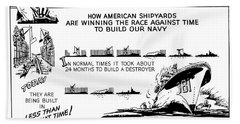 Making America Strong Ww2 Cartoon Hand Towel