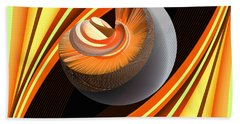 Hand Towel featuring the digital art Making Orange Planets by Angelina Vick