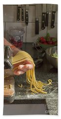 Bath Towel featuring the photograph Making Pasta by Patricia Hofmeester