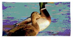 Hand Towel featuring the mixed media Male And Femal Mallard by Charles Shoup