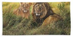 Male And Female Lion Hand Towel