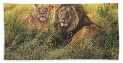 Male And Female Lion Bath Towel