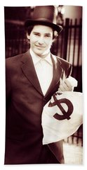 Male Banker Holding Dollar Sign Money Bags Hand Towel
