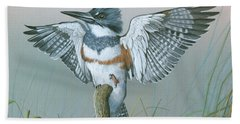 Male Belted Kingfisher Bath Towel