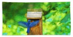 Male Blue Bird Feeding Baby Bath Towel
