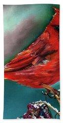 Male Cardinal And Snowy Cherries Hand Towel
