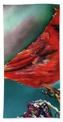 Male Cardinal And Snowy Cherries Bath Towel