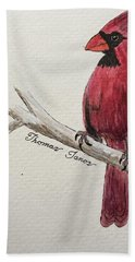 Male Cardinal In Winter Hand Towel