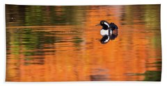 Male Hooded Merganser In Autumn Hand Towel