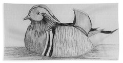Bath Towel featuring the drawing Male Mandrain Duck  by Amy Gallagher