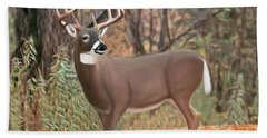 Male Mule Deer Painting Hand Towel by Walter Colvin