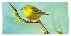 Male Pine Warbler On Forsythia Branch Hand Towel