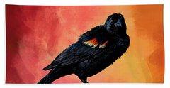Male Red-winged Blackbird Hand Towel by Cyndy Doty