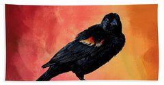 Male Red-winged Blackbird Bath Towel by Cyndy Doty