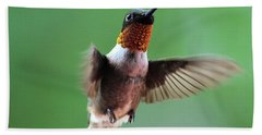 Male Ruby-throated Hummingbird Bath Towel