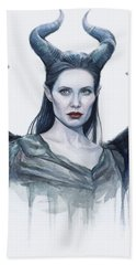 Maleficent Watercolor Portrait Hand Towel