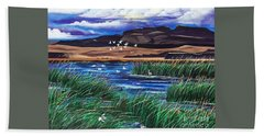 Bath Towel featuring the painting Malhuer Bird Refuge by Jennifer Lake