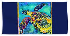 Hand Towel featuring the digital art Malia The Turtle by Erika Swartzkopf