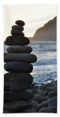 Hand Towel featuring the photograph Malibu Balanced Rocks by Kyle Hanson