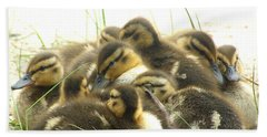 Hand Towel featuring the photograph Mallard Ducklings by Angie Rea