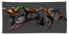 Mallard Ducks In Flight Bath Towel