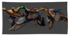 Mallard Ducks In Flight Bath Towel