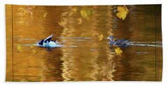 Mallard Ducks On Magnolia Pond - Painted Hand Towel