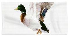 Mallard Flying Away Watercolor Bath Towel