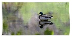 Bath Towel featuring the photograph Mallard In Mountain Water by Mark Myhaver