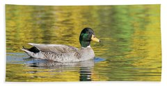 Mallard In Yellow Bath Towel