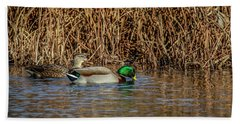 Mallards At The Marsh Hand Towel by Ray Congrove