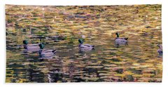Mallards On Autumn Pond Bath Towel