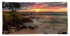Bath Towel featuring the photograph Maluaka Beach Sunset by Susan Rissi Tregoning