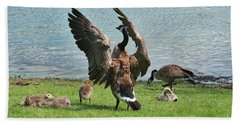 Mama And Papa Goose With Goslings Hand Towel