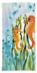 Mamma And Baby Seahorses Hand Towel