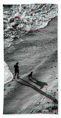 Man And Dog On The Beach Bath Towel