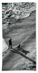 Man And Dog On The Beach Hand Towel