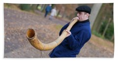 Man Blowing Horn Bath Towel by Hans Engbers
