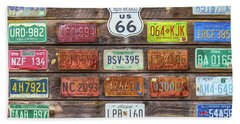 Man Cave License Plates Bath Towel by Marion Johnson