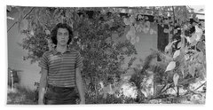 Man In Front Of Cinder-block Home, 1973 Hand Towel