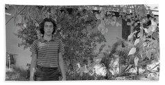 Man In Front Of Cinder-block Home, 1973 Bath Towel