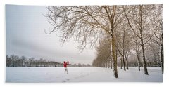 Man In Red Taking Picture Of Snowy Field And Trees Hand Towel