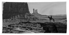 Man On Horse Monument Valley Bath Towel