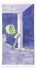 Man Reads By The Light Of Fireflies. Bath Towel