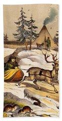 Man Riding Reindeer-drawn Sleigh Bath Towel