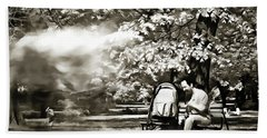 Man Strollers In The Park Hand Towel by Odon Czintos